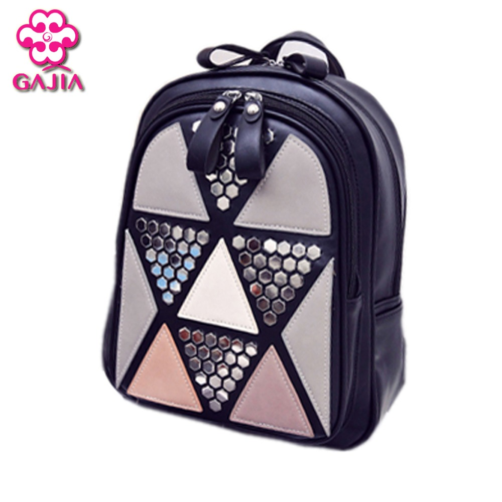 Preppy Style Women Backpack Geometric Patchwork Female School Bags High Quality PU Leather Backpacks for Teenagers