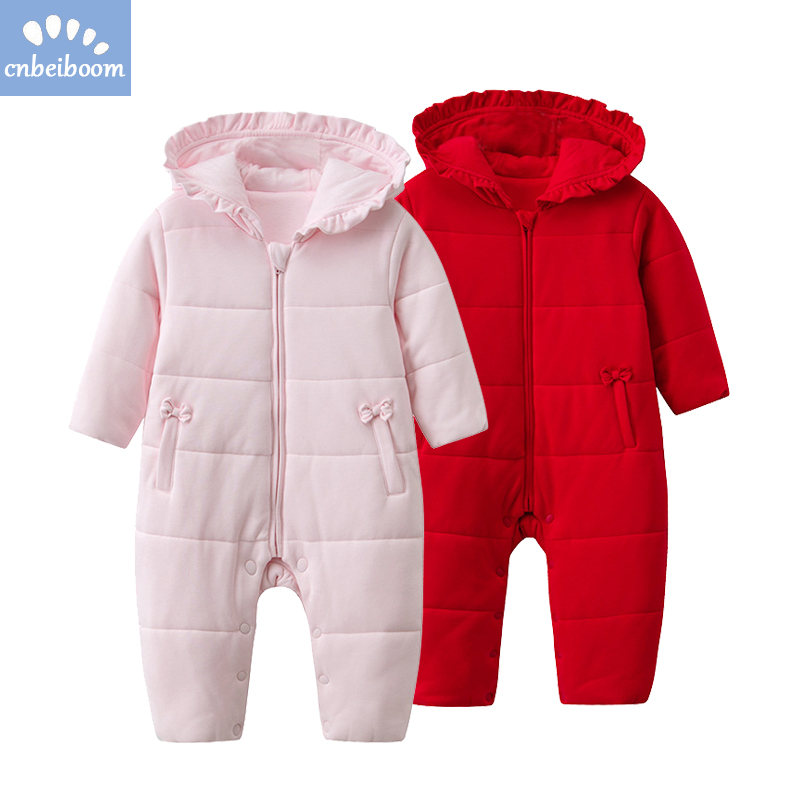 Cotton romper baby girls hooded winter rompers infant newborn jumpsuits red pink bow cute soft warm 2018 first new year clothes cute newborn baby girl clothes new style girls princess bow flowers romper