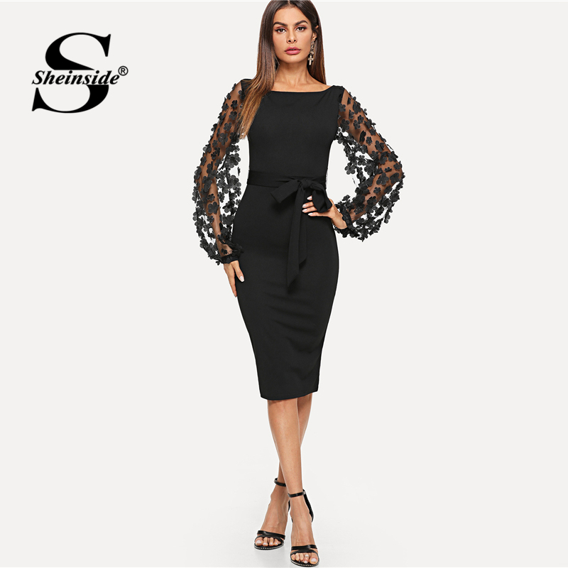 Sheinside Plain Flower Applique Elegant Bodycon Party Dress Office Mesh Sleeve Knee Length Belted Women Pencil Midi Dresses