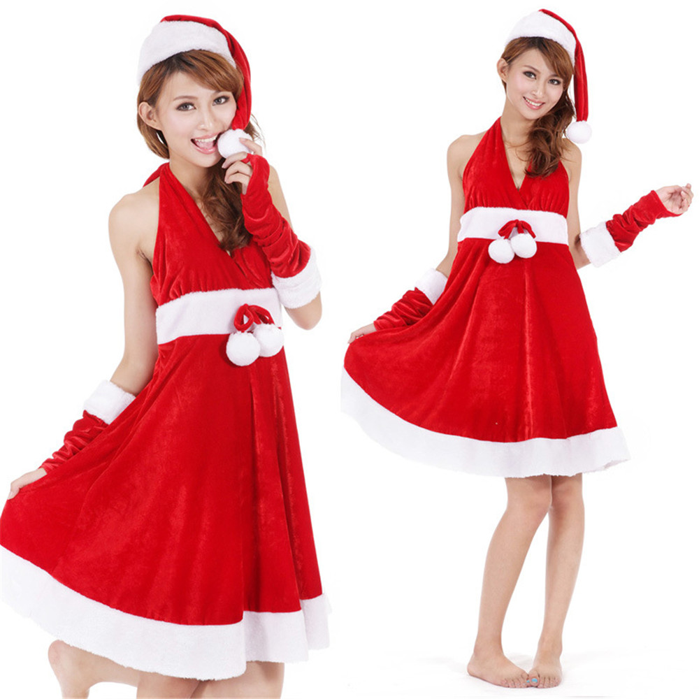 Christmas Halloween Dress Women Costume For Adult Red Velvet Fur Dresses Sexy and lovely Female Cosplay Santa Claus Costume
