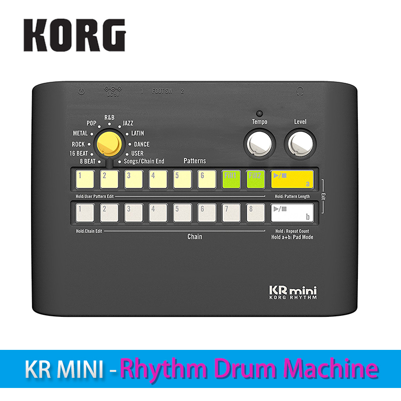 Korg KR Mini-Rythme Tambour Machine Power-up votre pratiquer avec divers motifs rythmiques