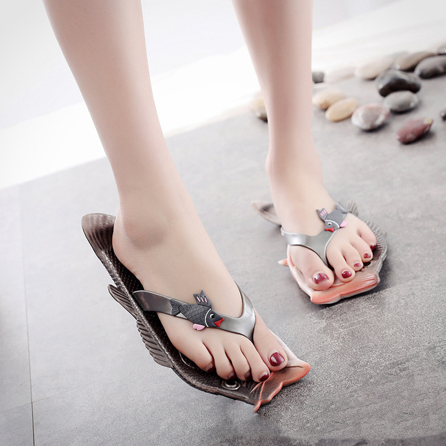 Women Summer Funny Creative Flip Flops Couple Outdoor Beach Fish Slippers Shoes