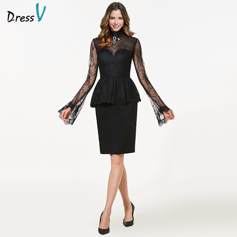Dressv black high neck long sleeves   cocktail     dress   sheath crystal lace knee length elegant   cocktail     dress   formal party   dress