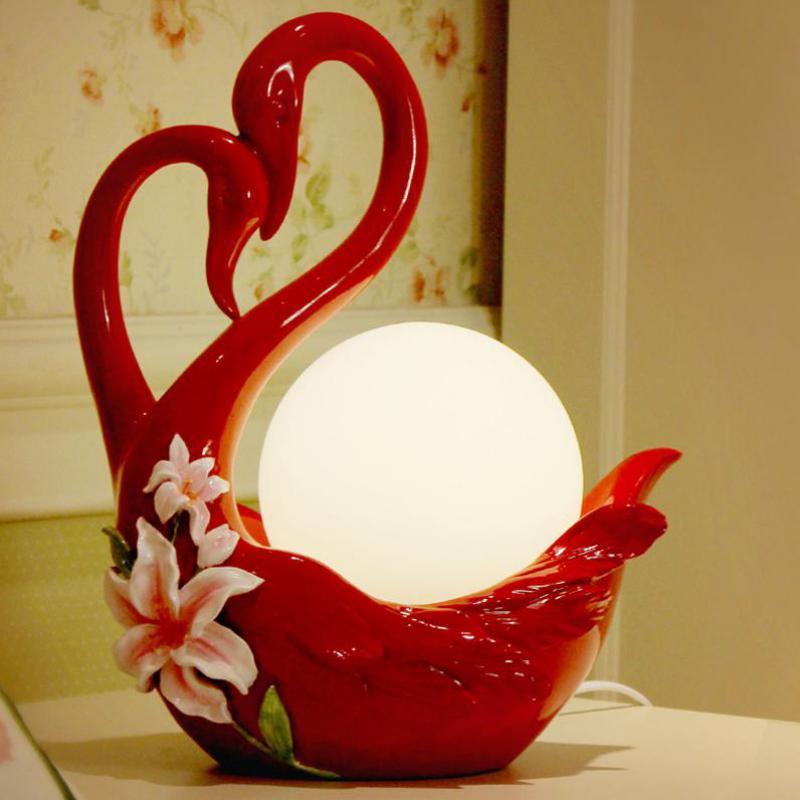 Lampe de table de cygne rouge Led mariage Abajur armoire de chevet E14 led lampe de cygne Restaurant salle de mariage mariage lampe sur pied led