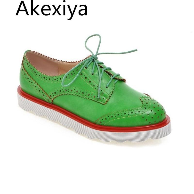 Akexiya Women Brogue Shoes Woman Casual Flat Platform Shoes Fashion Ladies Lace Up Shoes Orange Rose Red Green Flat Shoes велосипед dewolf trx 150 2017