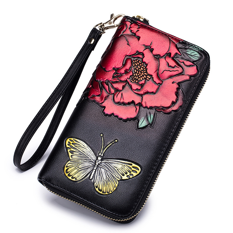 New Fashion Flower Genuine Leather Women Long Wallets High Quality Female Luxury Brand Clutch Girl Ladies Gift Cash Purse RFid