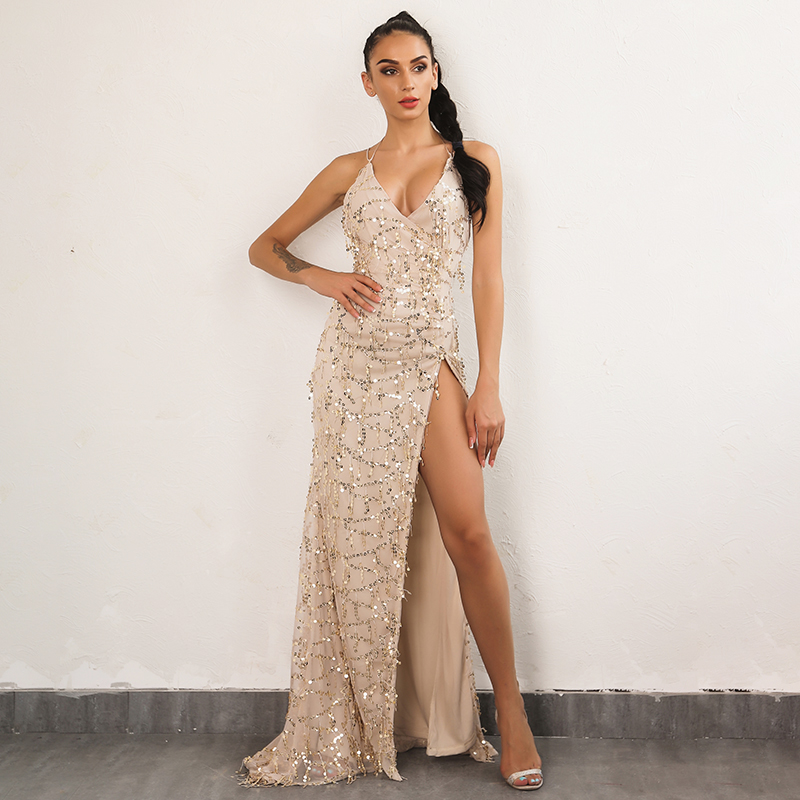 474f9774f0c Detail Feedback Questions about Evening Party Club Elegant Dress Women Dress  Affordable Womens Sexy Dresses Gold Sequined Long dress on Aliexpress.com  ...