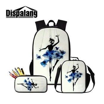 Dispalang School Backpack Patterns Ballet Picture of Bookbag Cooler Bag for Girls Art Satchel Zipper Pencil Bag for Children