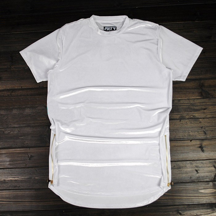 Kanye в стиле хип-хоп Футболка Мода имеет тенденцию велюр человек улица футболка сплошной цвет обычный любитель повседневные топы сторон молнии Тонкий S-2XL - Цвет: Белый