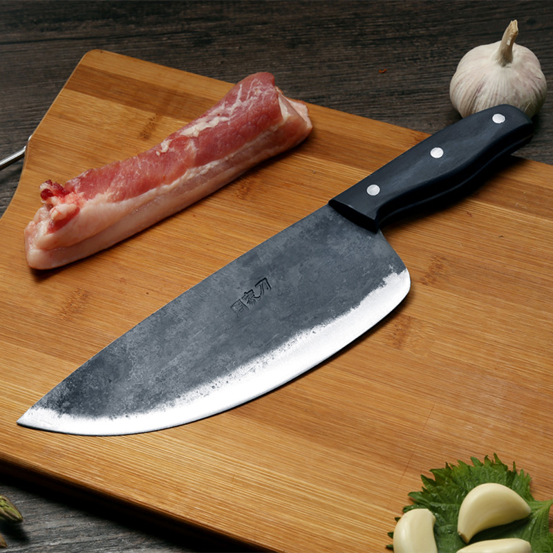 ZHOU JIA En Acier Au Carbone à La Main made Forgeage Abattage Couteaux Division Boucher Couteaux De Porc Boeuf Viande Moutons Sculpture Cleaver Couteaux