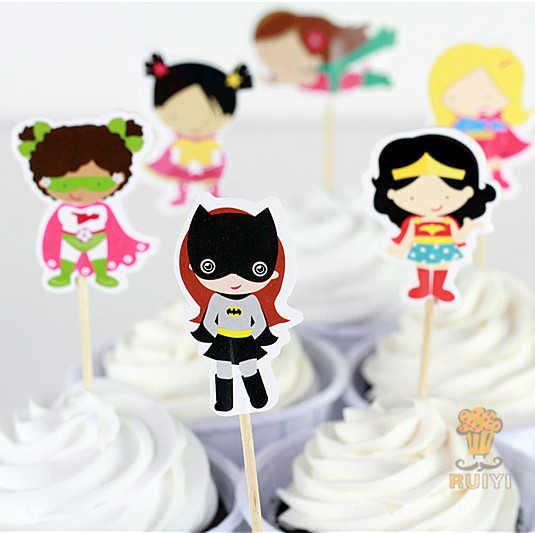 24 pcs Gadis superhero spiderman batman The Avengers candy bar cupcake toppers pick baby shower anak perlengkapan pesta ulang tahun
