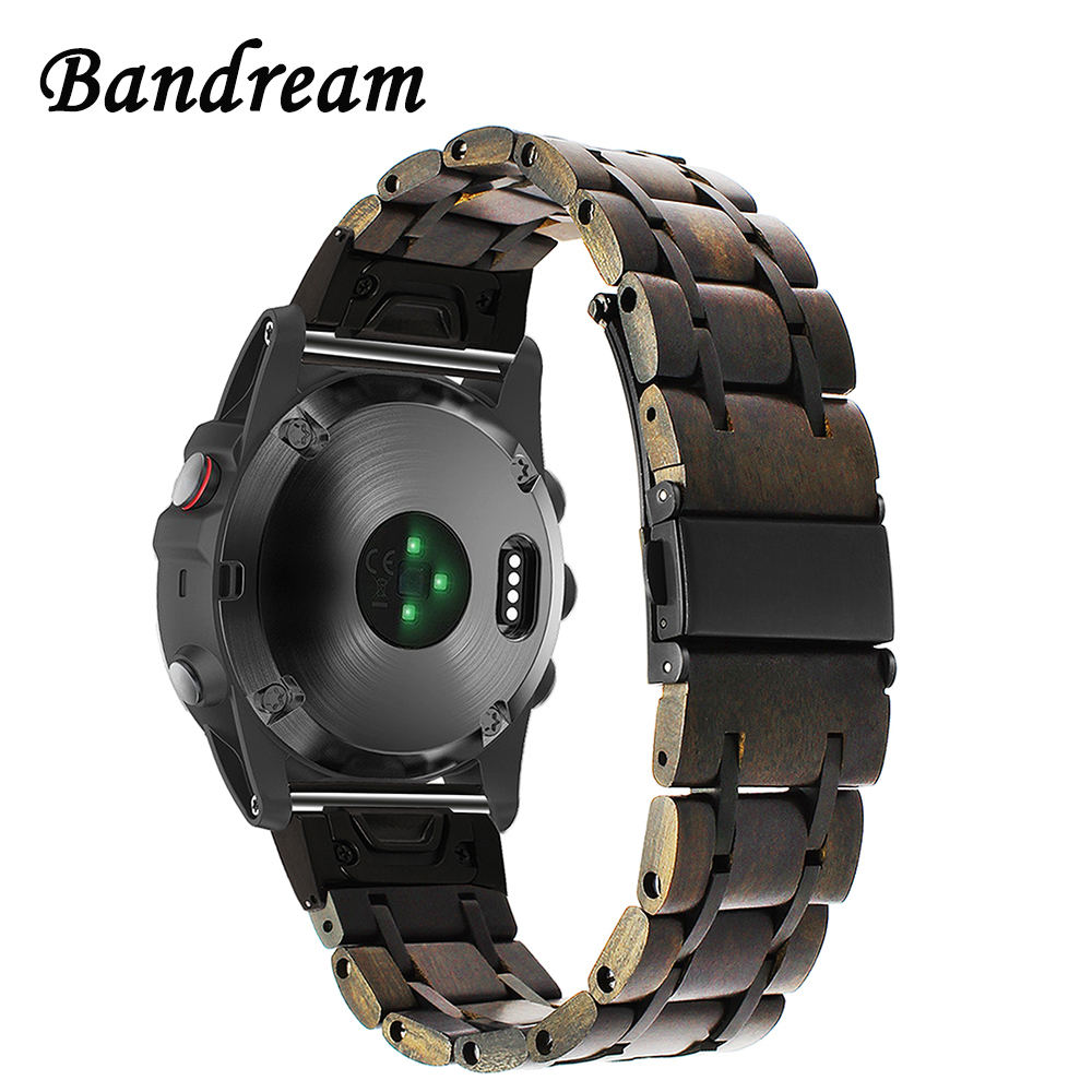 Natural Wood + Stainless Steel Watchband Quick Easy Fit for Garmin Fenix 5X/5X Plus/3/3 HR/D2/Descent MK1 Watch Band Wrist Strap stainless steel watch band 26mm for garmin fenix 3 hr butterfly clasp strap wrist loop belt bracelet silver spring bar