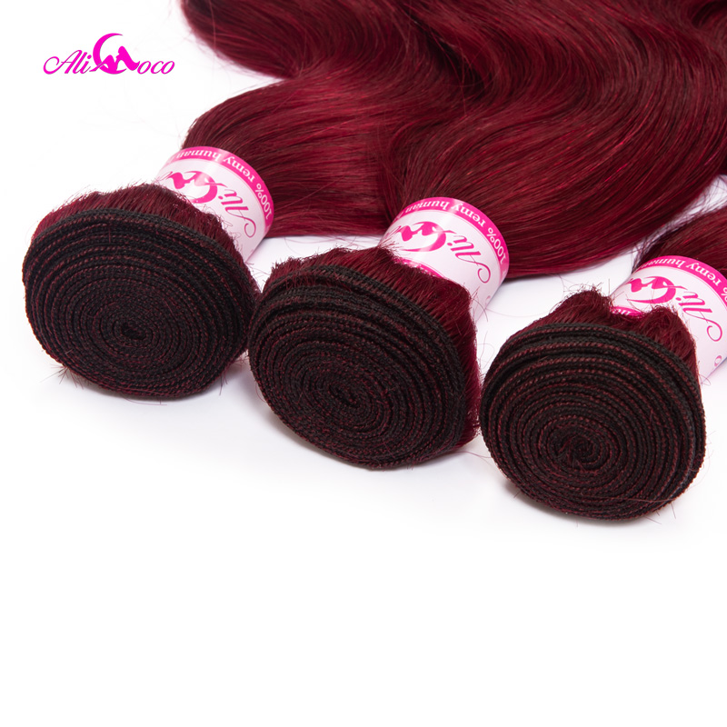 Brazilian Body Wave Bold Red #99 Burgundy Human Hair Weave 1/3/4 Bundles Remy Hair Ali Coco Thick Hair Extension