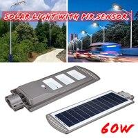 1 pc 60 w 120 pcs led 센서 태양 광 전원 벽 거리 조명 램프 알루미늄 합금 wterproof ip67 야외 경로 조명