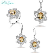 I&zuan 925 Sterling Silver Fine Jewelry Sets For Woman Classic 4.57ct Citrine Flower necklace Earrings Ring Set Party Gift