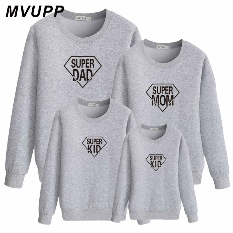 5e17f51e Super dad mom kids letter tshirt sweatshirt family look mother daughter  father son clothes daddy mommy