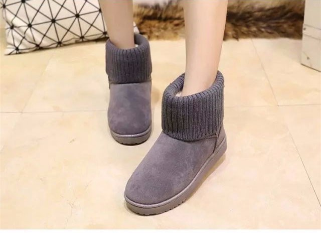 KUYUPP Patchwork Knitting Wool Women Snow Boots Winter Shoes 2016 Flat Heels Warm Plush Ankle Boots Slip On Womens Booties DX119 (66)