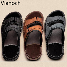 2017 New Mens Sandals Slipper Flats Summer Beach Shoes Big Size Large Leather Shoe Man
