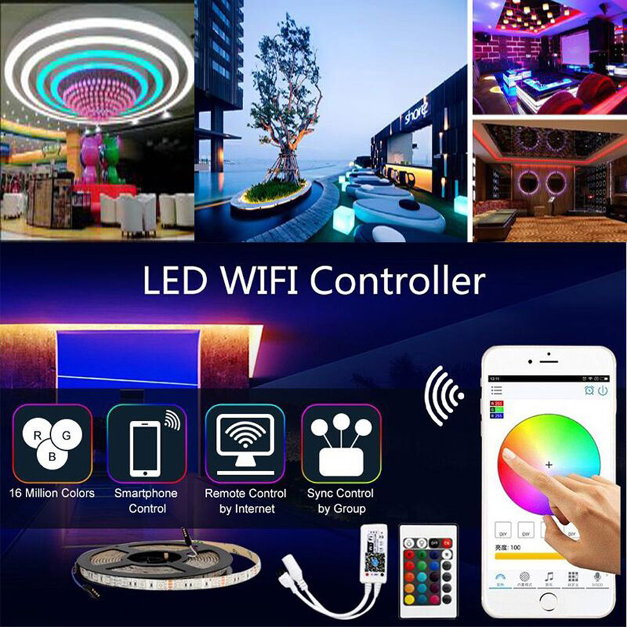 HTB15 Vjq29TBuNjy0Fcq6zeiFXaE 5M 10M 15M WiFi RGB LED strip light Waterproof SMD5050 3528 2835 DC 12V led tiras diode flexible ribbon contoller+plug led strip