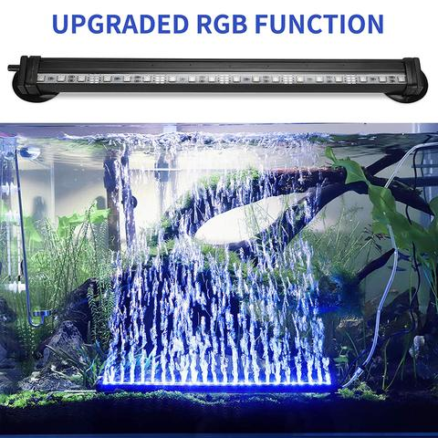 LED Aquarium Light IP68 Waterproof Fish Tank Lights Mutil-Color Air Bubble Dimmable Submersible Underwater Lights with Remote Lahore