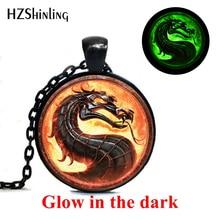Новая мода Дракон ожерелье s Mortal Kombat кулоны в форме стеклянного купола ювелирные изделия светящийся кулон на ожерелье светится в темноте