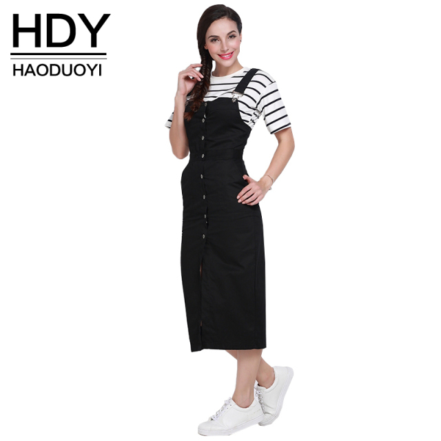 HDY Haoduoyi 2017 Autumn Women Fashion Solid Black Single Buttons Pencil Dress High Waist  Casual Loose Brief Strap Dress
