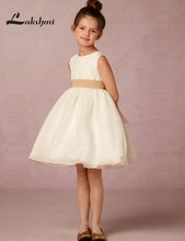 Simple Jewel A line Flower Girl Dresses for Wedding White Ivory Organza Birthday Party Dress Custom