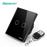 SESOO EU UK Standard Remote Control Touch Switch Remote Wall Light Switch With Cystal Black