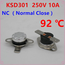 10Pcs KSD301 92 Degrees Celsius C Normal Close NC Temperature Controlled Switch Thermostat 250V 10A