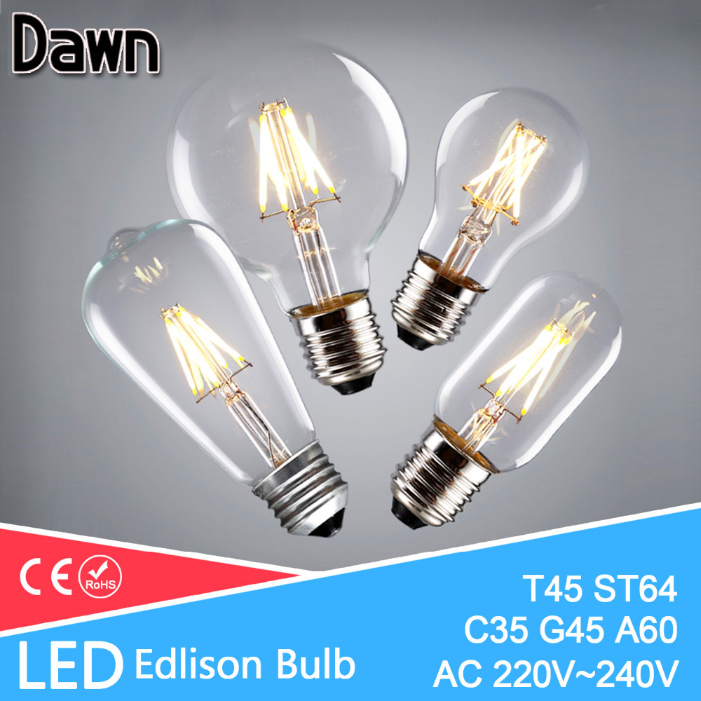 Ampoule Vintage LED Edison Light Bulb e27 e14 220V LED Retro Lamp 2w 4w 6w 8w LED Filament Light Edison Pendant Lamps Bombillas 5pcs e27 led bulb 2w 4w 6w vintage cold white warm white edison lamp g45 led filament decorative bulb ac 220v 240v