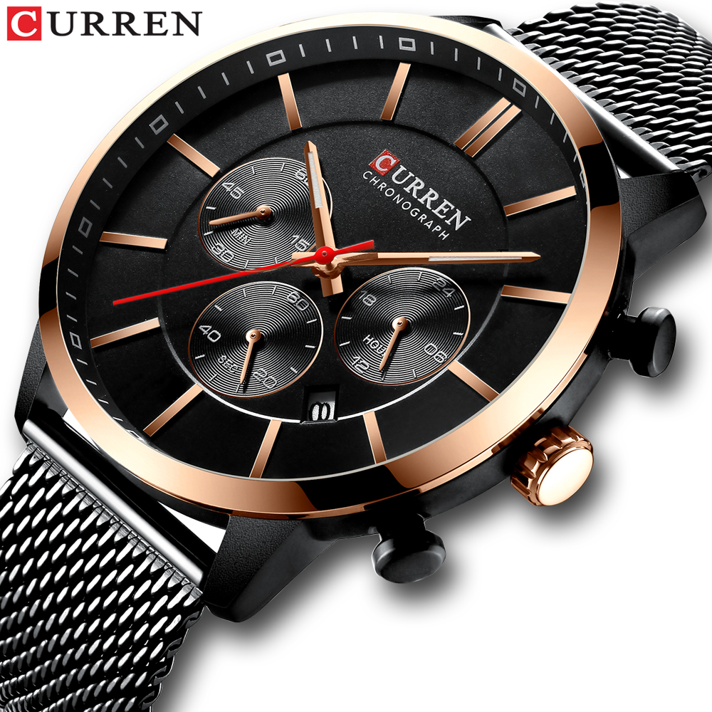 CURREN 2021 Luxury Brand Fashion Quartz Clock Men Watch Causal Sport Watches Men Chronograph and Date Wristwatch Steel Mesh time