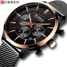 CURREN 2021 Luxury Brand Fashion Quartz Clock Men Watch Causal Sport Watches Men Chronograph and Date Wristwatch Steel Mesh time