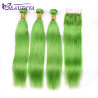 Beaudiva Human Hair With Closure With Baby Hair 4 Pcs Brazilian Straight Hair With Closure 4*4 Green Color Brazilian Hair Weave