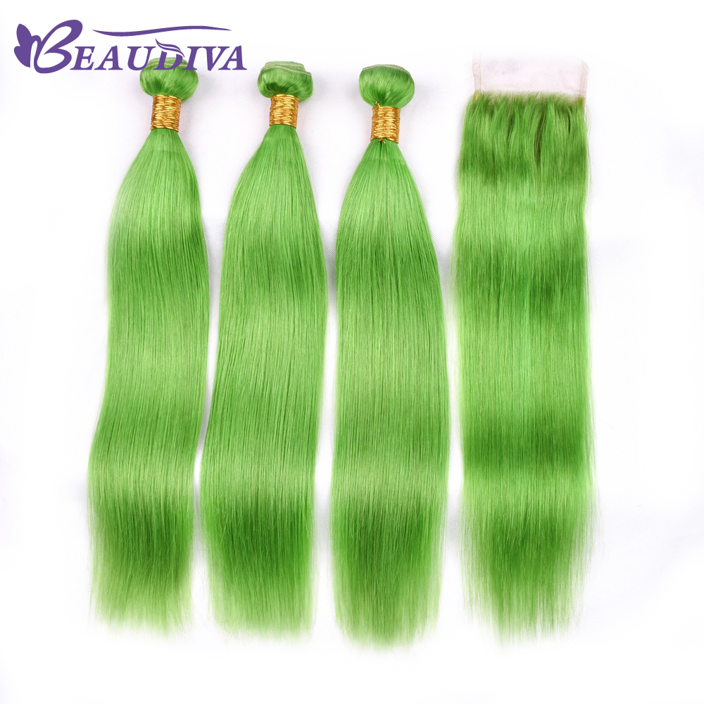 Luxediva Human Hair With Closure With Baby Hair 4 Pcs Brazilian Straight Hair With Closure 4*4 Green Color Brazilian Hair Weave