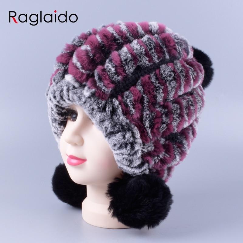 Winter hats for girls real fur pom pom beanies fashion knit ball ear protect warm bomer hat brand new kids skulls cap LQC1006