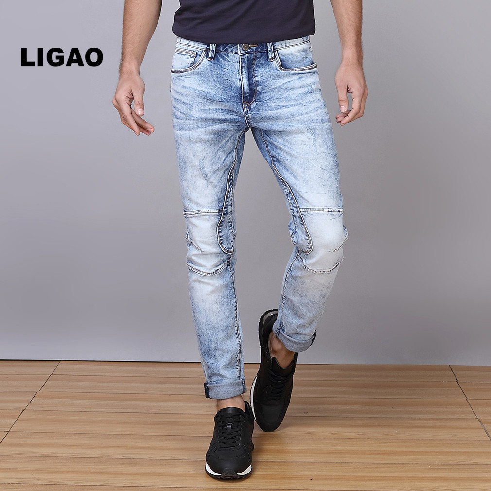 LIGAO Men's Jeans Breathable Patched High Elastic Penci Pants Trousers Slim Straight White Washing Men Denim Pant Plus Size ligao 2017 men s jeans denim jeans men male high elastic stretch long pants light blue thin slight slim comfortable pant