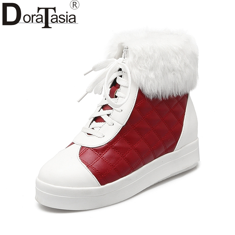 DoraTasia 2017 Hot Sale Big Size 33-43 Patchwork Woman Shose Women Leisure Platform Lace Up Rabbit Fur Warm Winter Snow Boots ...