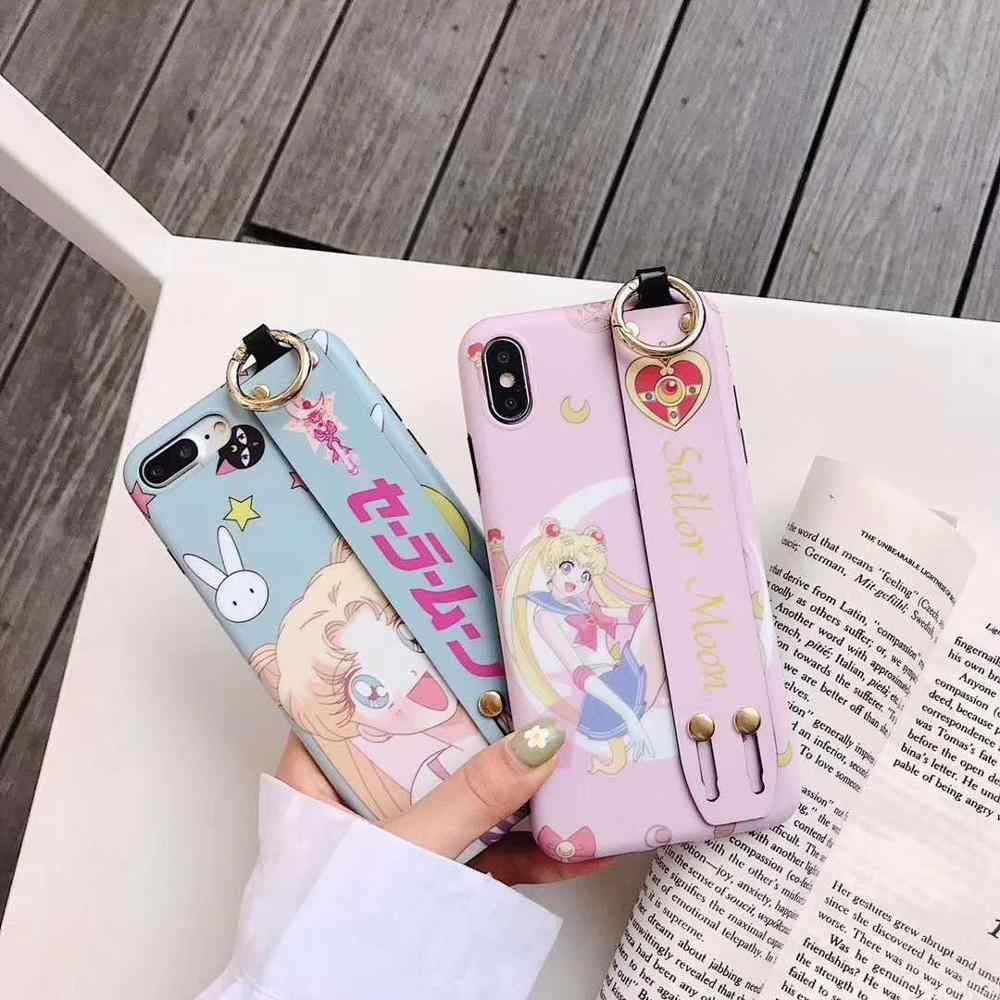 Cute Minnie PINK Sailor Moon Toy Story IMD Scrub phone case for iphone 7 8 6s plus x xs xr max Wrist stand holder Soft Cover