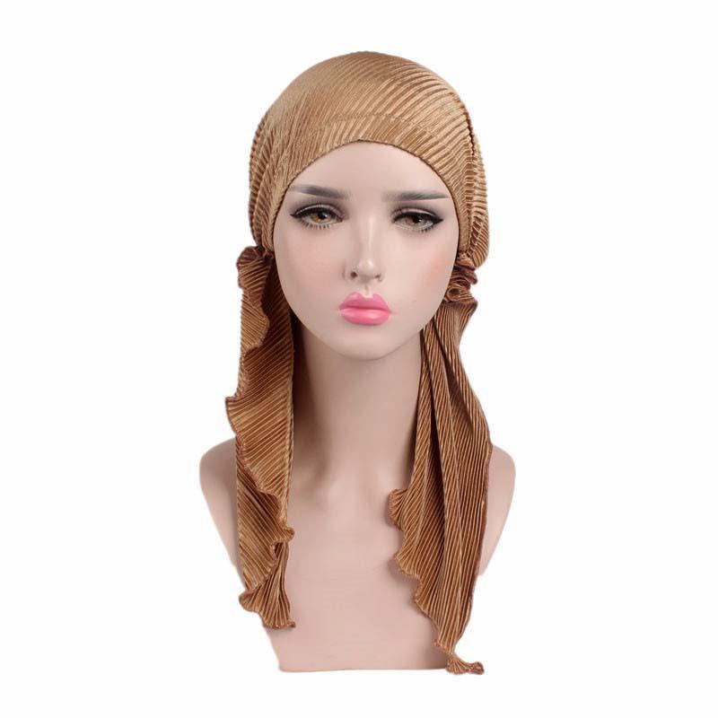 2017 Europe New Fold Long Tail Towel Headband Boho Chemotherapy Hat Embossed Elastic Cloth Headdress TJM-276 Hair Accessories
