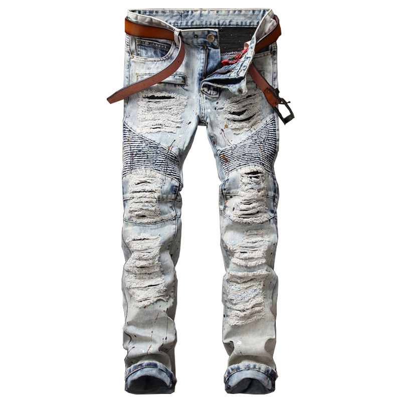 NEW Ink Biker Men Jeans Homme Hi Street Hole Slim Fit Distressed Ripped Denim Pants Male Stone Washed Punk Cotton Jeans men distressed knee holed jeans vintage enzyme washed male ripped denim pants slim fit korean fashion kpop broken jeans