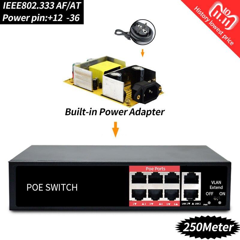 48 v 96 watt Netzwerk POE schalter Ethernet mit 6 RJ45 Netzwerk Ports IEEE 802,3 af/at Geeignet für CCTV kamera system/Wireless AP