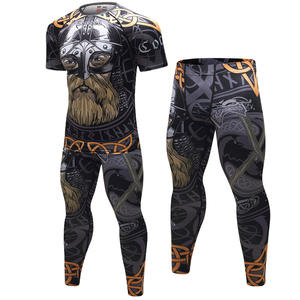 Pants Mens Sport Running Set Compression T-Shirt Gym Tights Suit