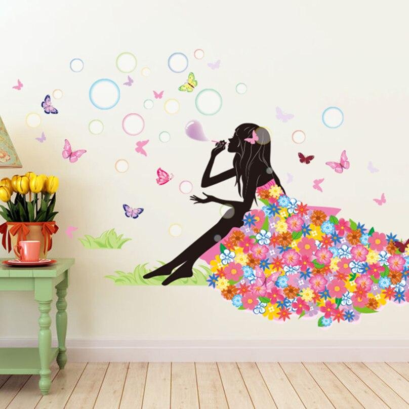 [SHIJUEHEZI] Cartoon Girl Wall Sticker DIY Blowing Bubbles Flower - Home Decor - Photo 4