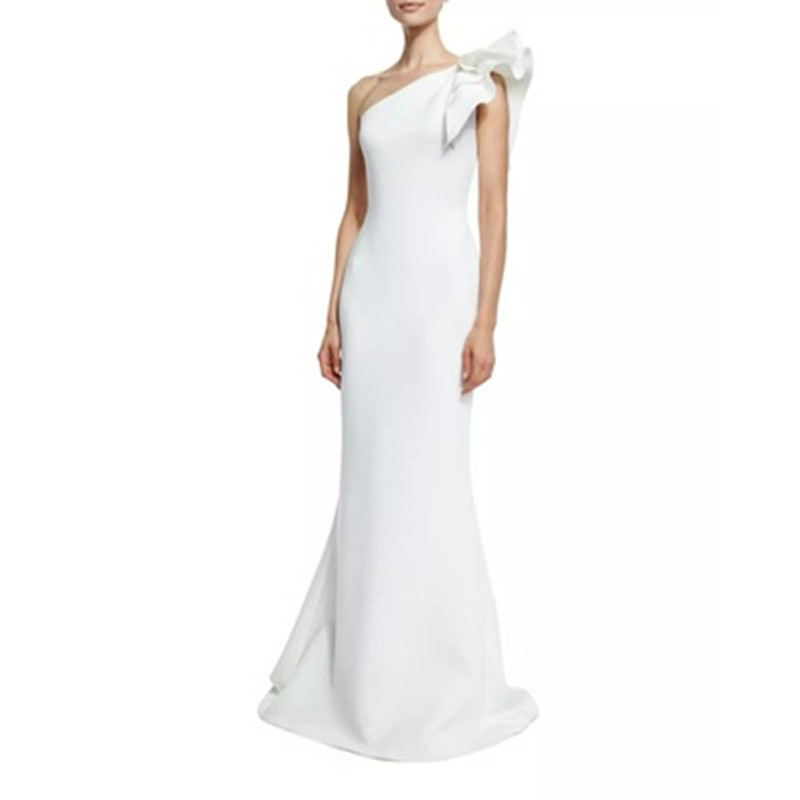 ФОТО Clothes For Pregnant Women White Oblique Shoulder Dress Ruffles Elegant Long Ladies Slim Fit Evening Dresses Party Club Girls