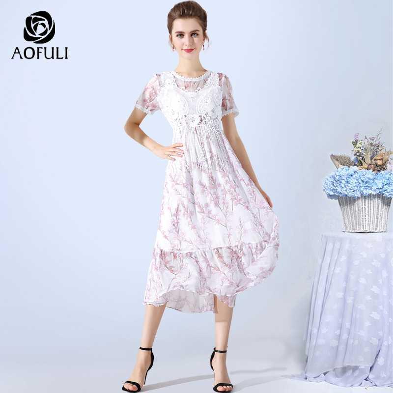 AOFULI L- XXXL 4XL 5XL pink flowers print boho dress for women plus size  diamond e7f13ad83137