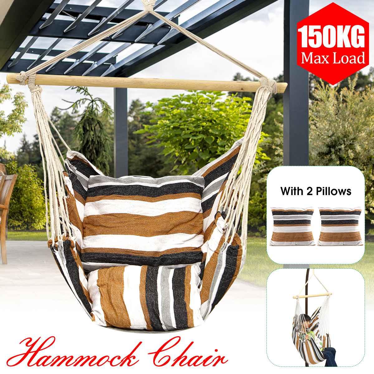 Hamac extérieur chaise jardin hamac meubles balançoire chaise suspendue siège avec 2 oreillers adultes enfants