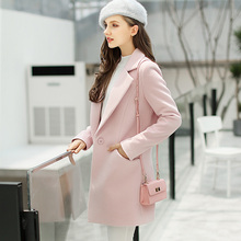 Women Jacket Real Full Solid Slim Single Turn-down Collar No Regular 2017 New Long Korean Show Wool Coat Dress Season Clearance