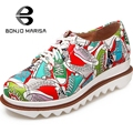 Fashion Women Colorful Geometric Print Flats Round Toe Skidproof Sole Lace Up Platform Shoes Woman Big Size