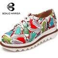 Mujeres de la manera Colorful Geometric Print Antideslizante Suela de Pisos de Punta Redonda Lace Up Plataforma Mujer Zapatos Grandes del Tamaño