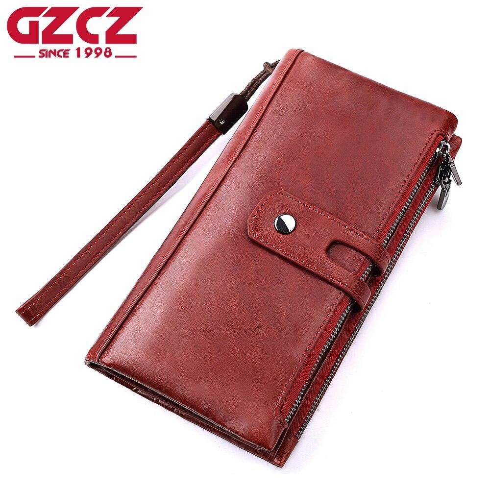 GZCZ Women Wallets Genuine Leather High Quality Long Design Phone Bag Fashion Clutch Female Coin Purse Ladies Walet Portomonee